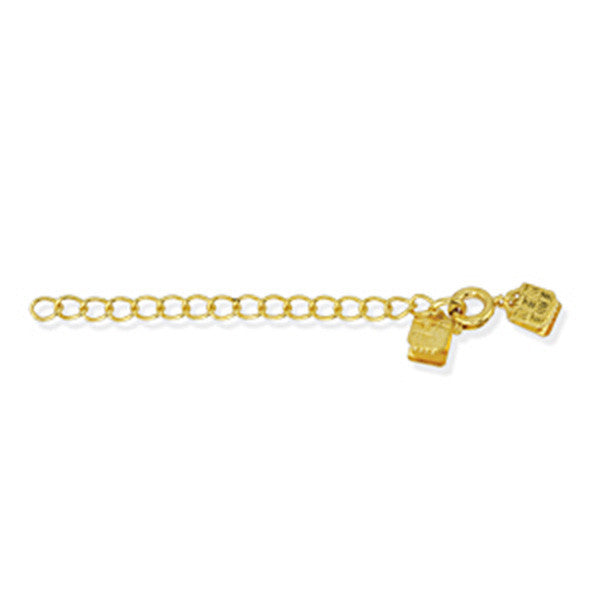 Image of 324A-020 - Extension Chain, C-Crimp End, Spring Rings, Gold Plated, 3 pc