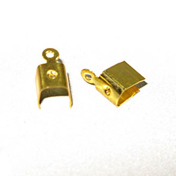 Image of 24011310-2 - Leather Crimps Large Gold  10 x 5mm 100Pk