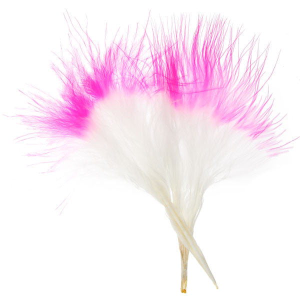 "Image of 78003002-11H - Marabou Feathers 4-6"" 6g White with Hot Pink Tip"