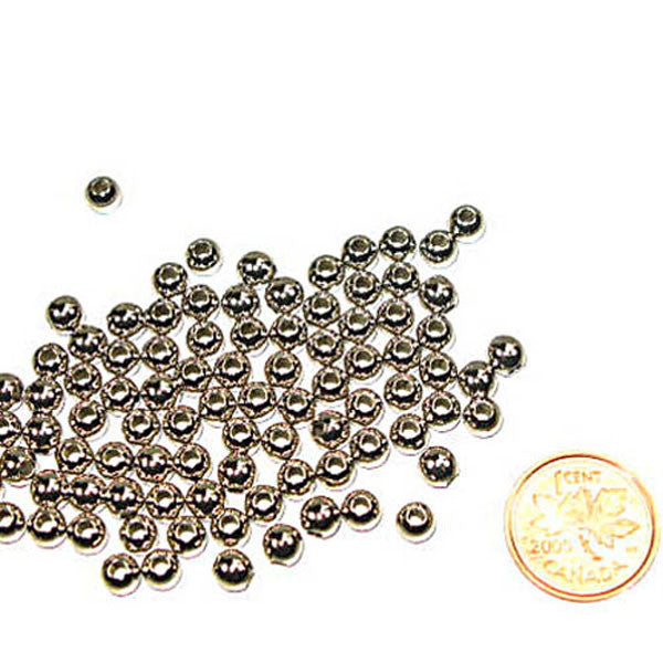 Metal Round Beads 5mm Nickel 100 Pack