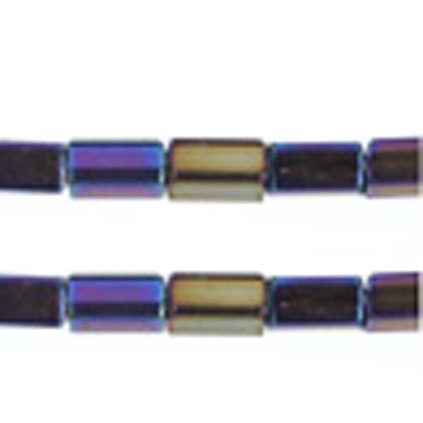 Image of 68002350 - Op Black Rainbow Tube Square Bead 7 x 3.4mm 40 gms