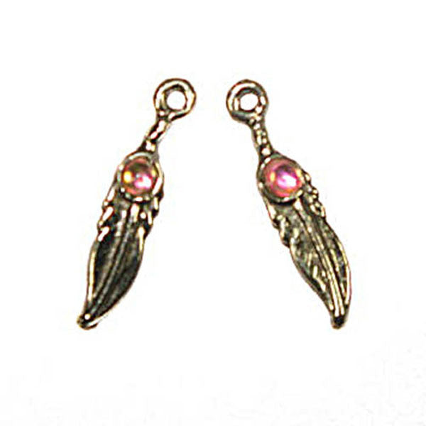 Pendant  Feather Drops 25mm Antique Silver 2 Pack