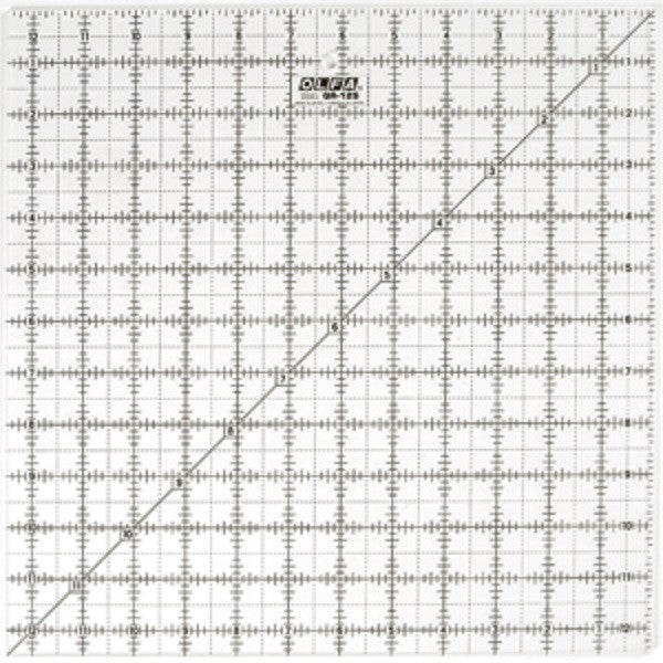 "Image of QR-12S - QR-6X12 12 1/2"" Square Frosted Acrylic Ruler"