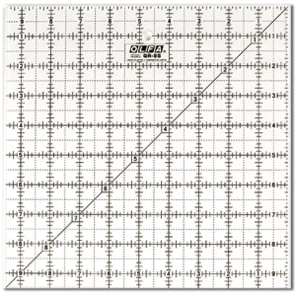 "OLFA (QR-9S) 9 1/2"" Square Frosted Acrylic Ruler #1071799"