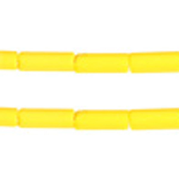 Yellow Matt Glass Wampum Bead  8x3mm 35 grams