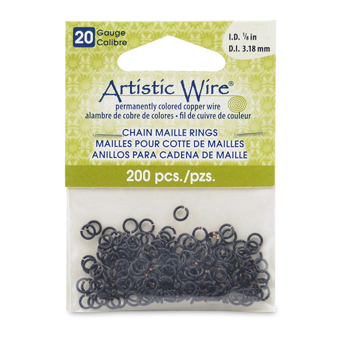 20 Gauge Artistic Wire, Chain Maille Rings, Round, Black, 1/8 in (3.18 mm), 200 pc