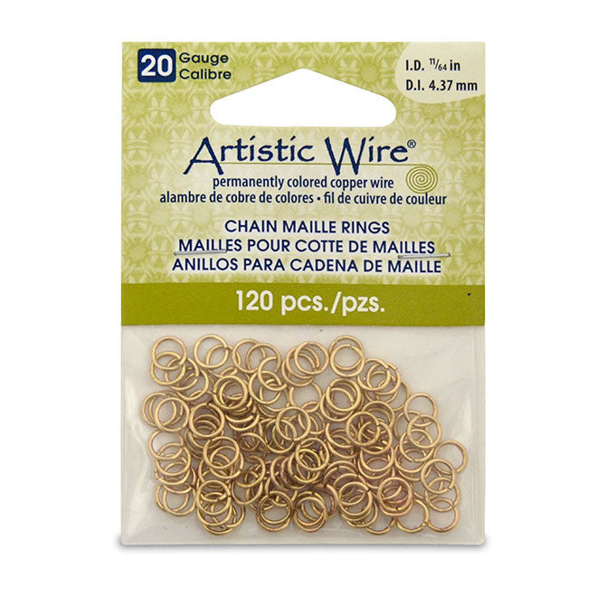 "20 Gauge Artistic Wire Chain Maille Rings Round Brass,11/64"" (4.37 mm) 120pc"