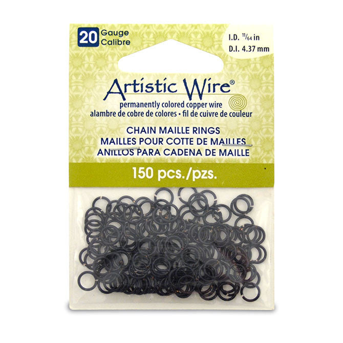 20 Gauge Artistic Wire Chain Maille Rings Round Black 11/64 in (4.37 mm) 150 pc