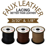 "Faux Leather Lace 1/8"" 50 yd TAN"