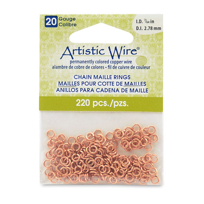 "20 Gauge Artistic Wire, Chain Maille Rings Round Natural 7/64"" (2.78 mm) 220pc"