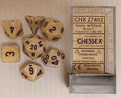 Marble Ivory w/black Classic Polyhedral 7-Die Set | Card Merchant NZ