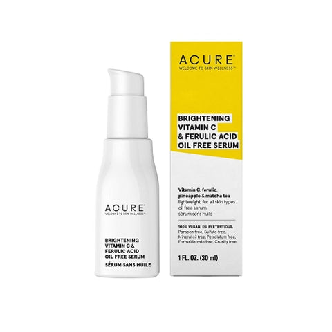 ACURE Brightening Vitamin C & Ferulic Acid Oil Free Serum, 1 OZ