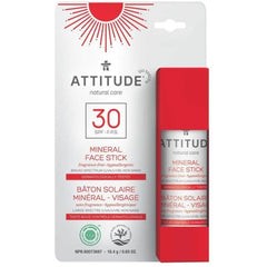 ATTITUDE Natural Care Adults Mineral Sunscreen Face Stick SPF30 - Skincare & Hair