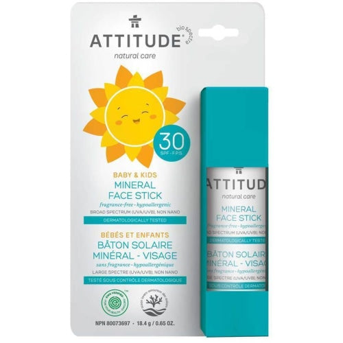 ATTITUDE Natural Care Baby & Kids Mineral Sunscreen Face Stick SPF30
