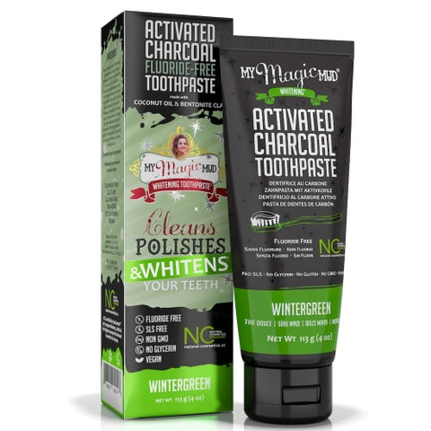 My Magic Mud Activated Charcoal Toothpaste for Whitening- Wintergreen