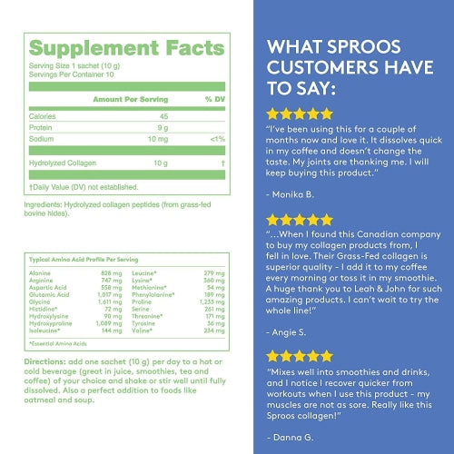 Sproos Premium Grass-Fed Collagen Peptide Powder - Sproos