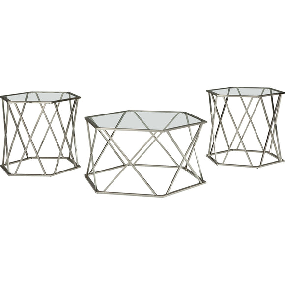 Madanere  3 Pack Tables - Chrome Finish