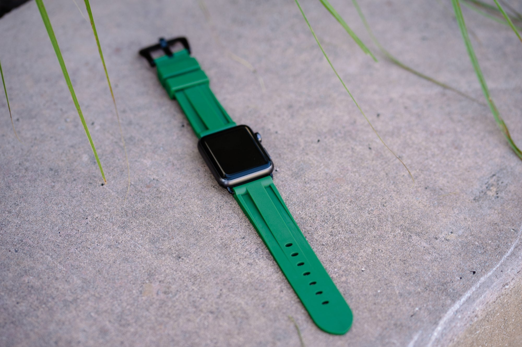 Green Rubber Apple Watch Strap