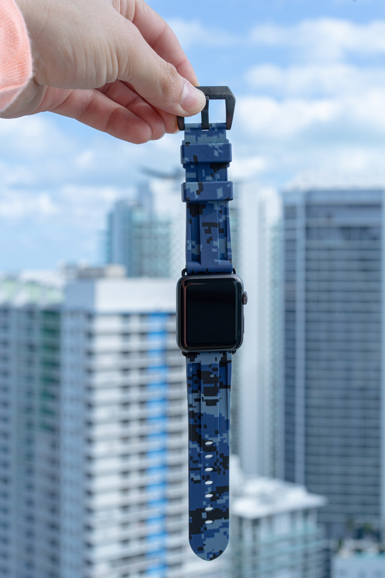 Blue Digital Camo Apple Watch Strap