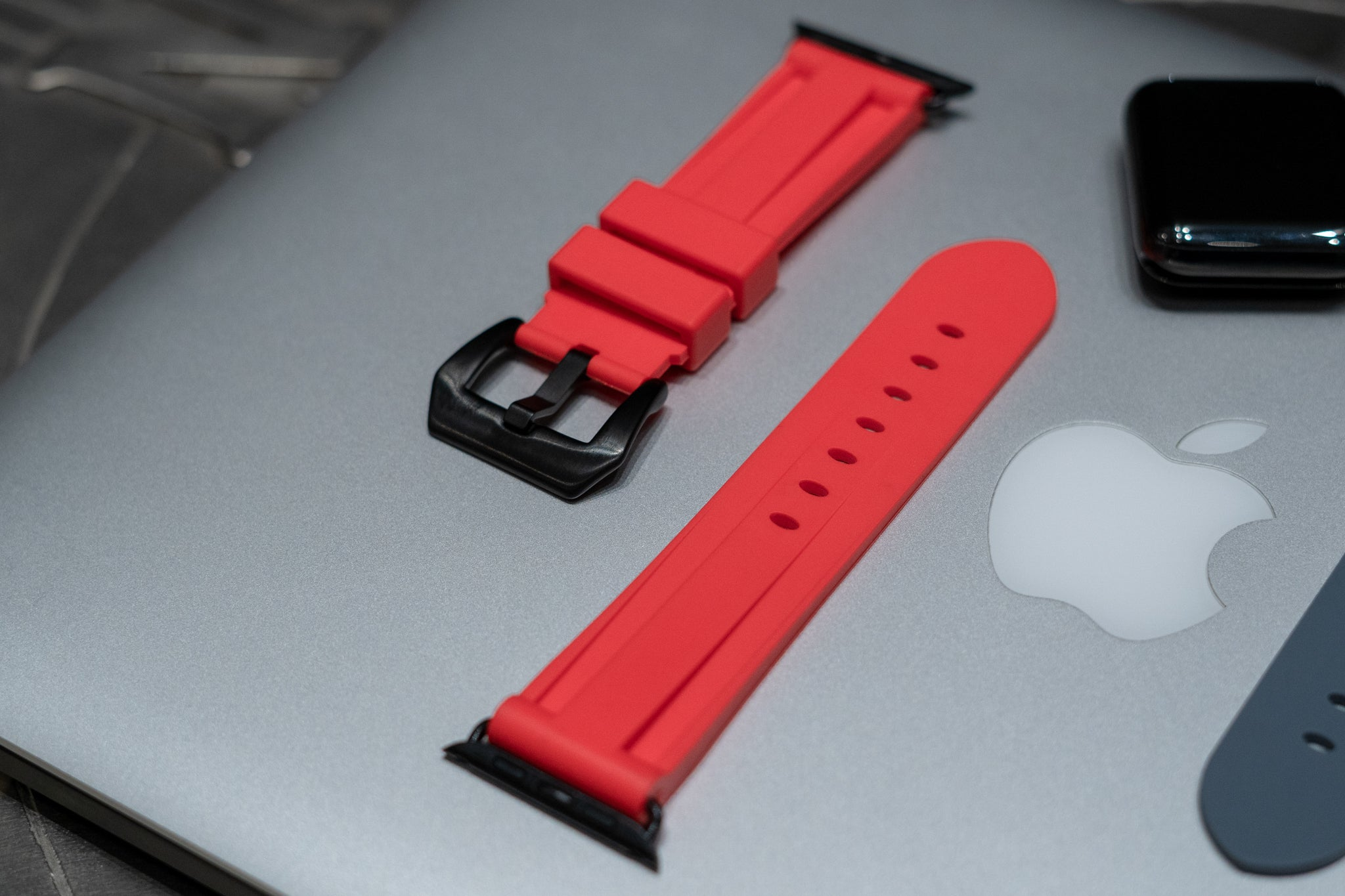 Solar Red Rubber Apple Watch Strap