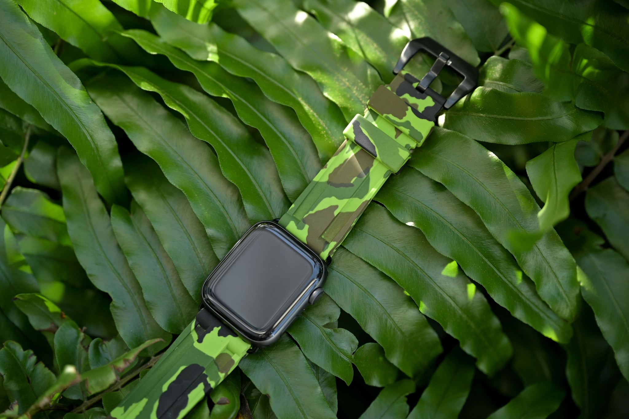 Electric Green Camo Apple Watch Strap