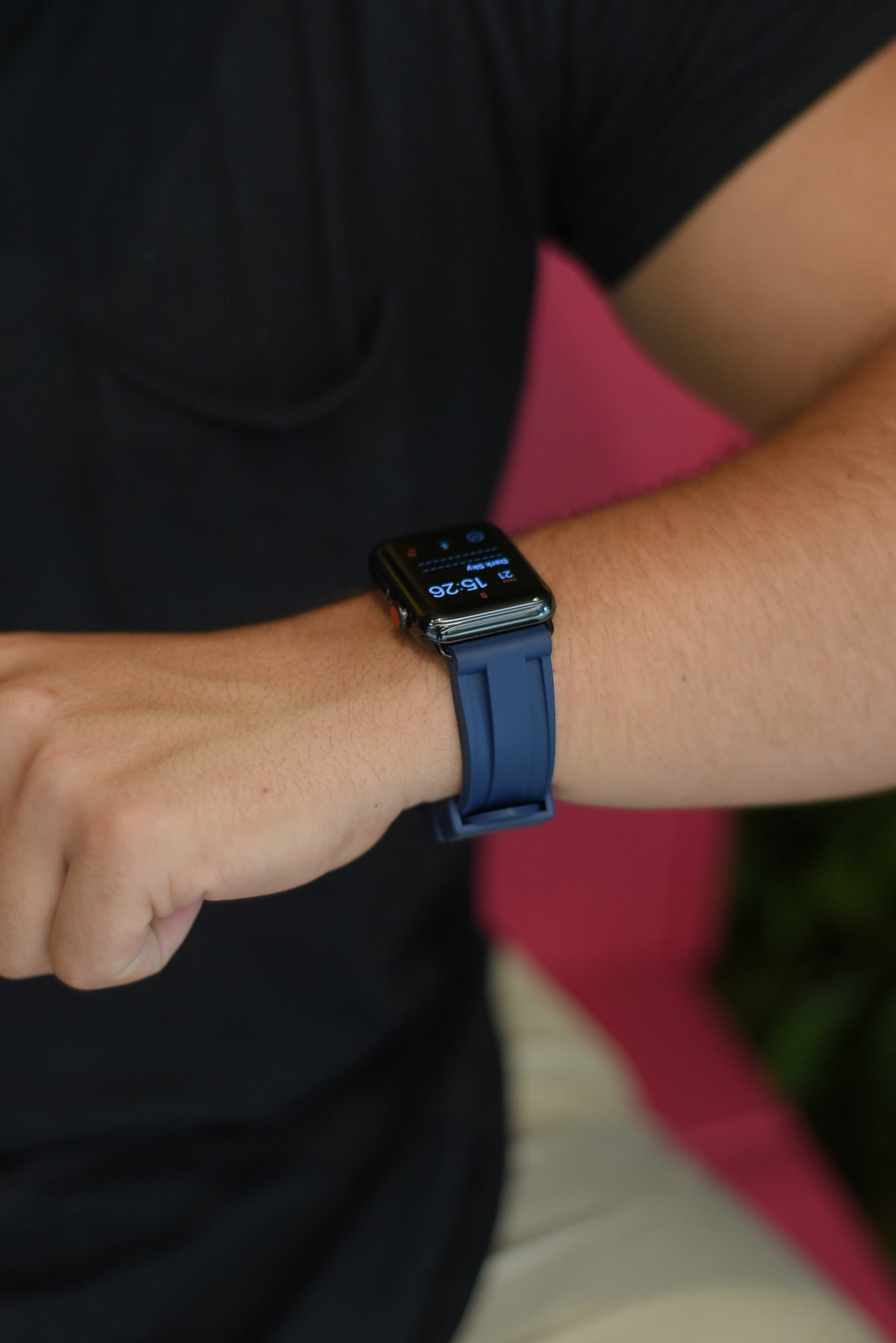 Navy Rubber Apple Watch Strap