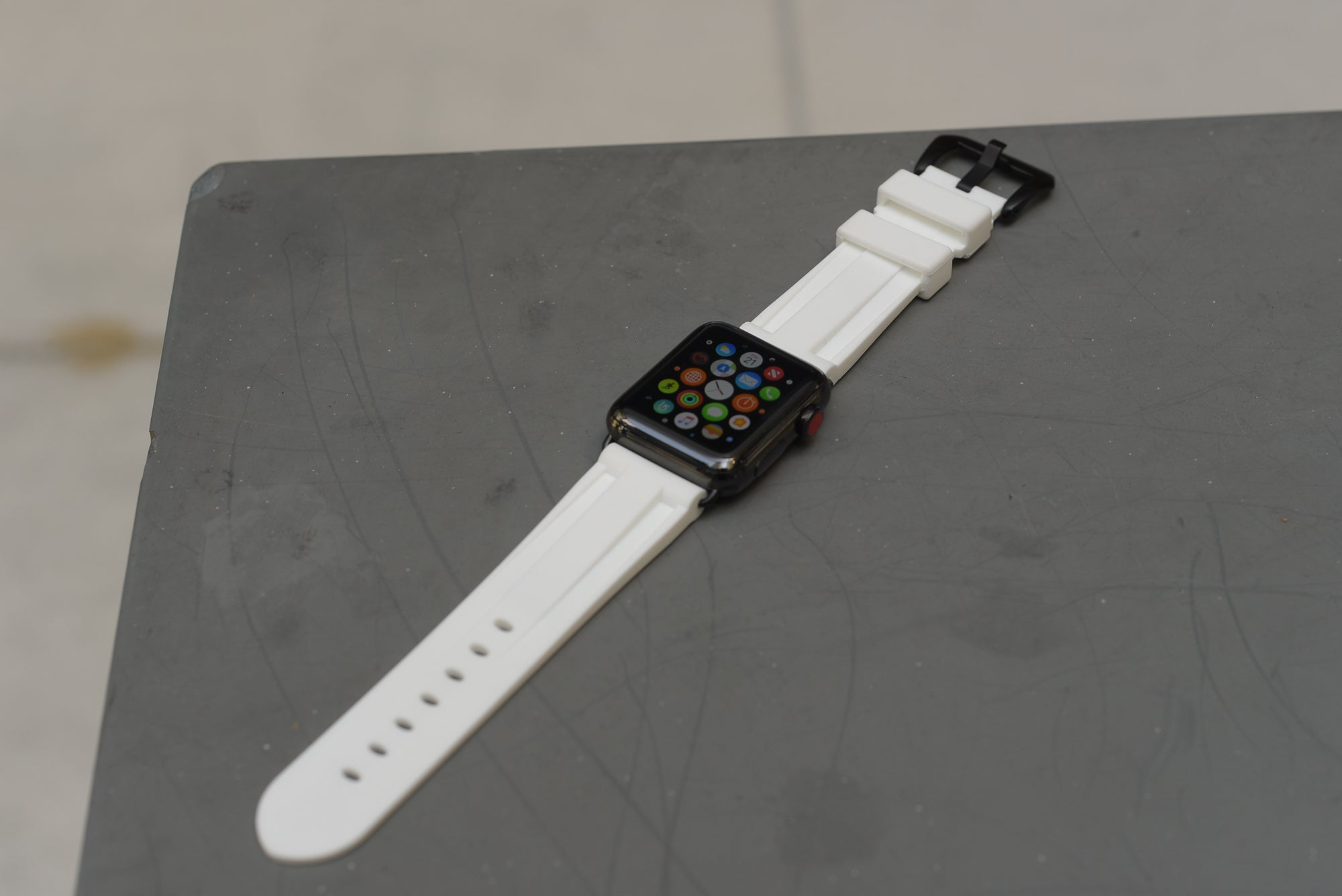 White Rubber Apple Watch Strap