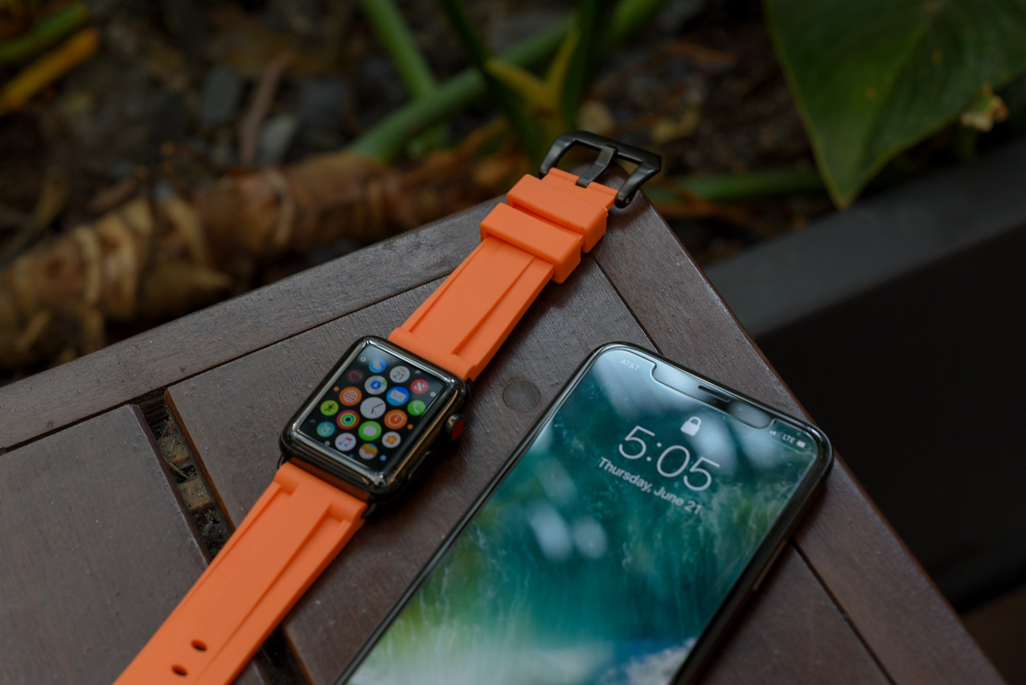 Orange Rubber Apple Watch Strap