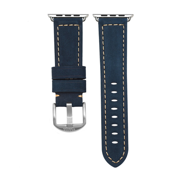 Navy Leather Apple Watch Strap