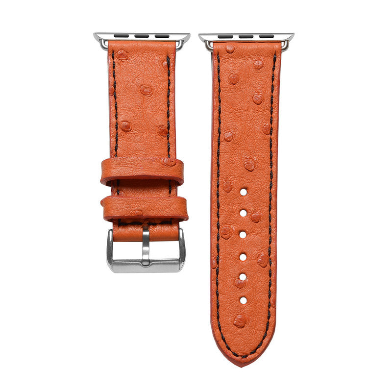 Orange Ostrich Apple Watch Strap