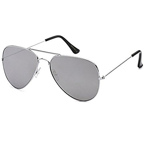 B4SIC Aviator Sunglasses Full Mirror Lenses Silver Metal Frame UV400 Protection
