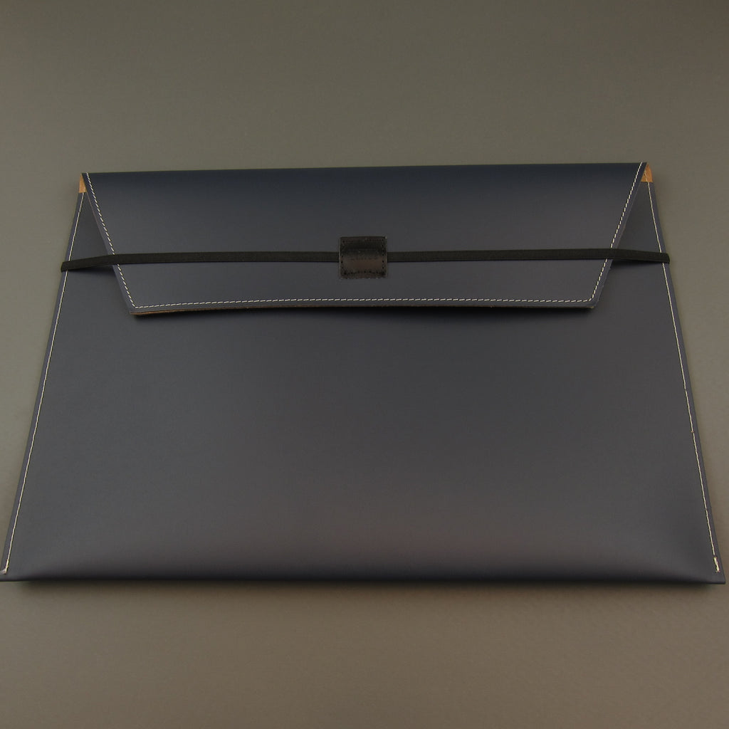 Recycled leather document case A4 Navy