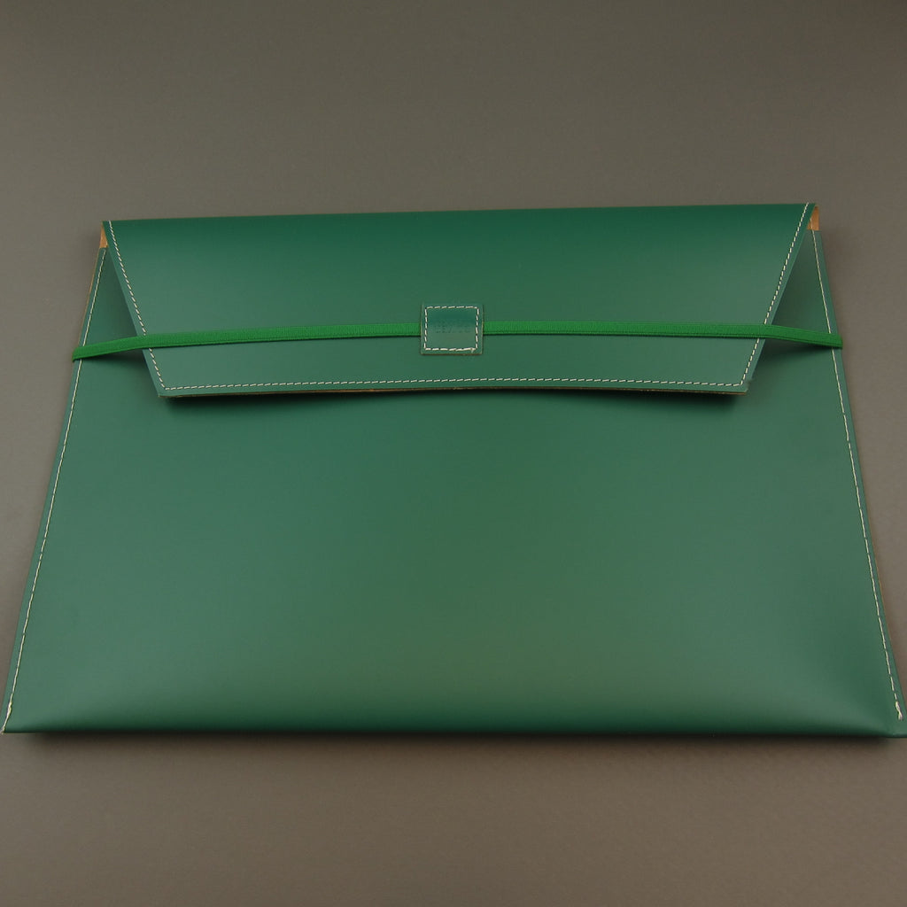 Recycled leather document case A4 Green