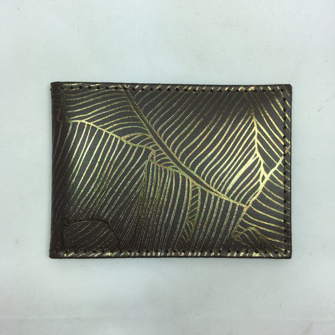 Palm leaf recycled leather card holder