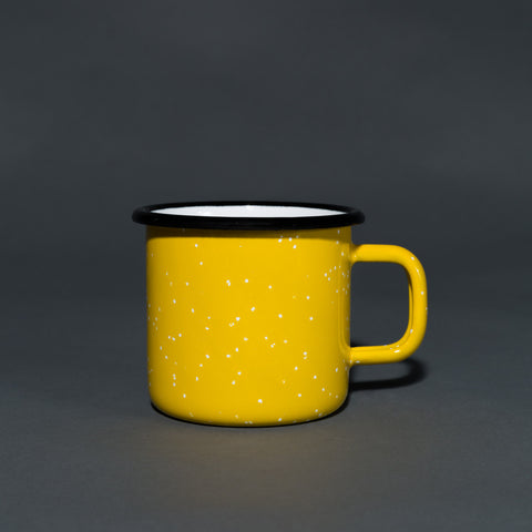 Yellow speckled enamel mug