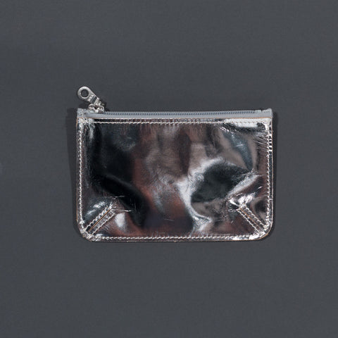 Recycled leather zip purse silver