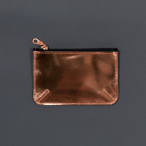 Recycled leather zip purse Copper