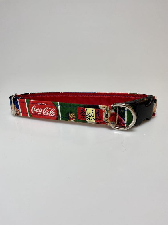 "1"" Wide, 13-23"" long, plastic buckle, Classic Coca Cola Christmas Themed"