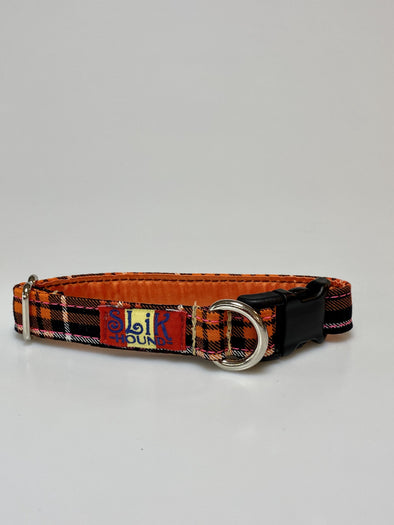 ".75"" Wide, 10-16"" long, plastic buckle, Orange and Pink Plaid"
