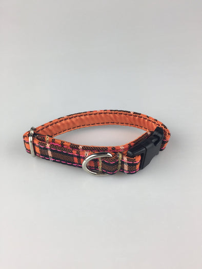 ".5"" Wide, 6-10"" long, plastic buckle, Orange and Pink Plaid"