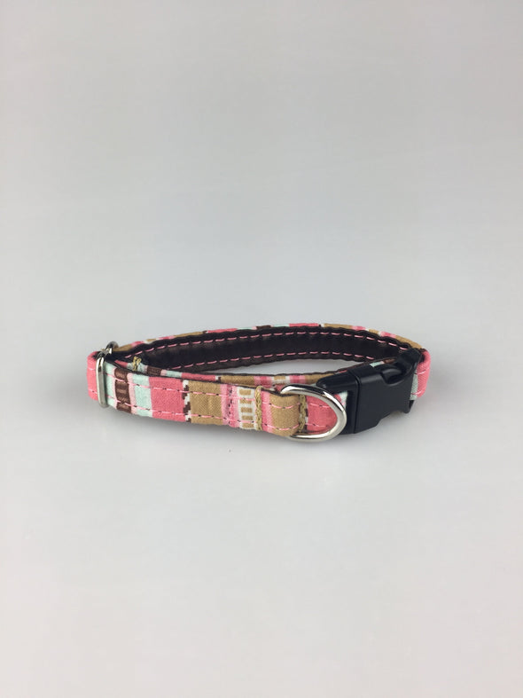 ".5"" Wide, 6-10"" long, plastic buckle, Pink and Teal Stripes"