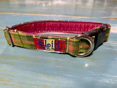 ".75"" Wide, 10-16"" long, plastic buckle, Green and Pink Plaid"