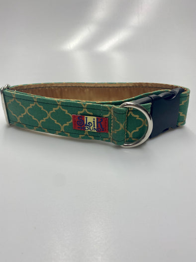 "1.5"" Wide, 13-23"" long, plastic buckle, Gold Clover Moroccan"