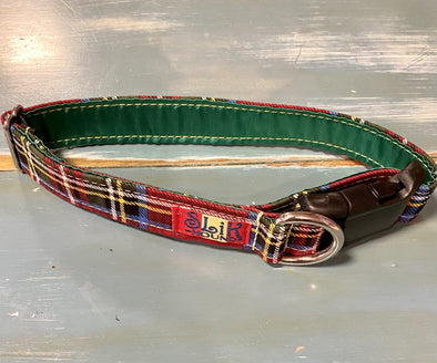 "1"" Wide, 13-23"" long, plastic buckle, Merry Plaid"