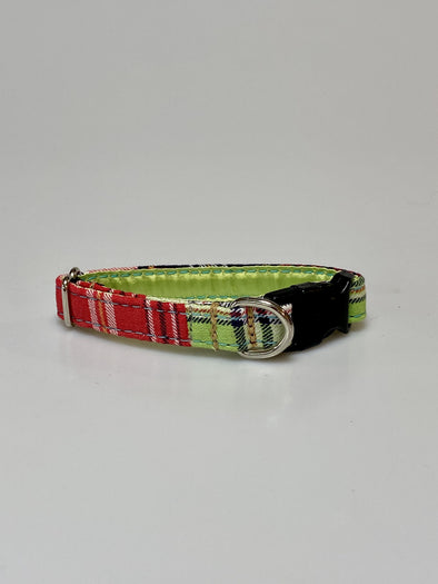 ".5"" Wide, 6-10"" long, plastic buckle, Lime Plaid"