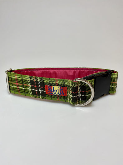 "1.5"" Wide, 13-23"" long, plastic buckle, Pink and Green Plaid"