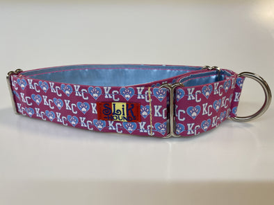 "1.5"" Wide, 13-23"" long, Martingale, Dog Hearts KC Pink"