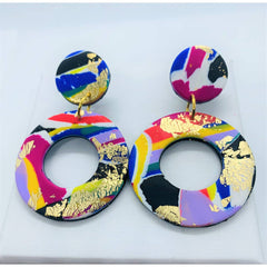 80s - Large Polymer Clay Earring