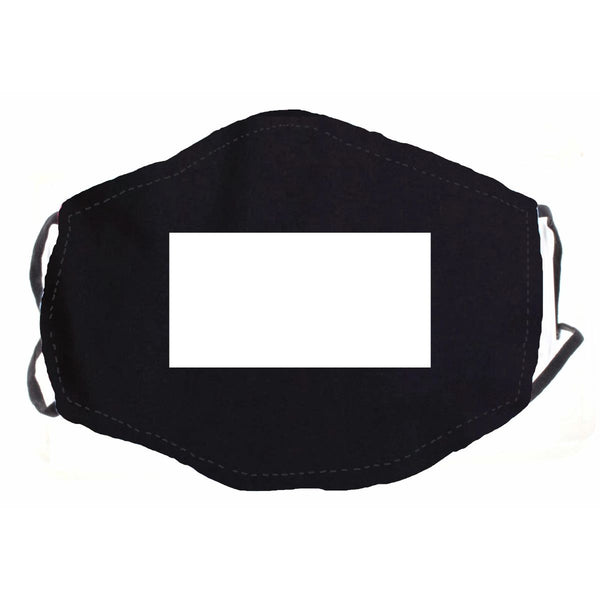 BLACK WITH CLEAR WINDOW FACE MASK, ADJUSTABLE ELASTIC EAR STRAPS