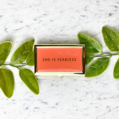"BUSINESS CARD HOLDER  ""SHE IS FEARLESS"""